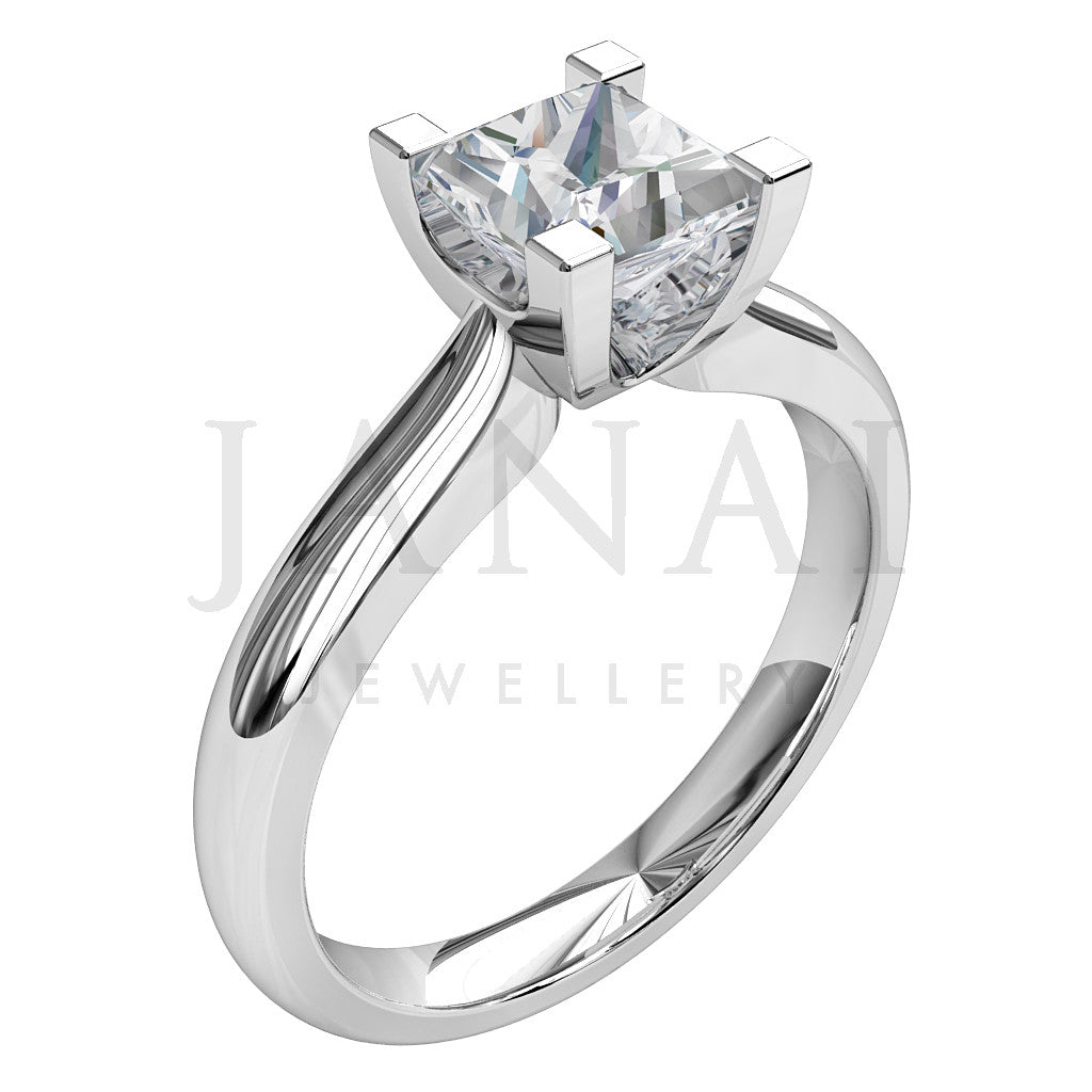 Princess shape diamond in a 4 claw setting