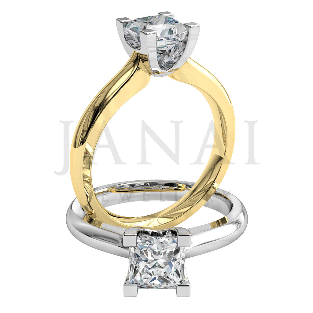 yellow gold Princess shape diamond in a 4 claw setting