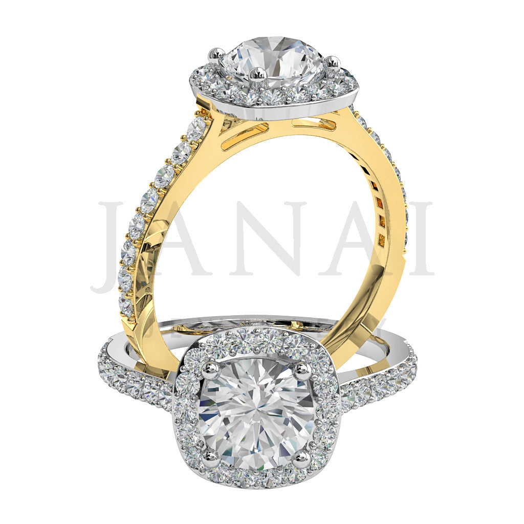Brilliant Round Cut Diamond Cluster Engagement Ring - Beautiful
