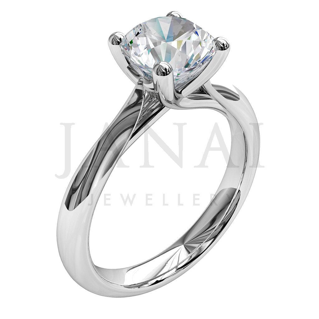 Brilliant Round Cut Diamond Solitaire Engagement Ring - Je Taime