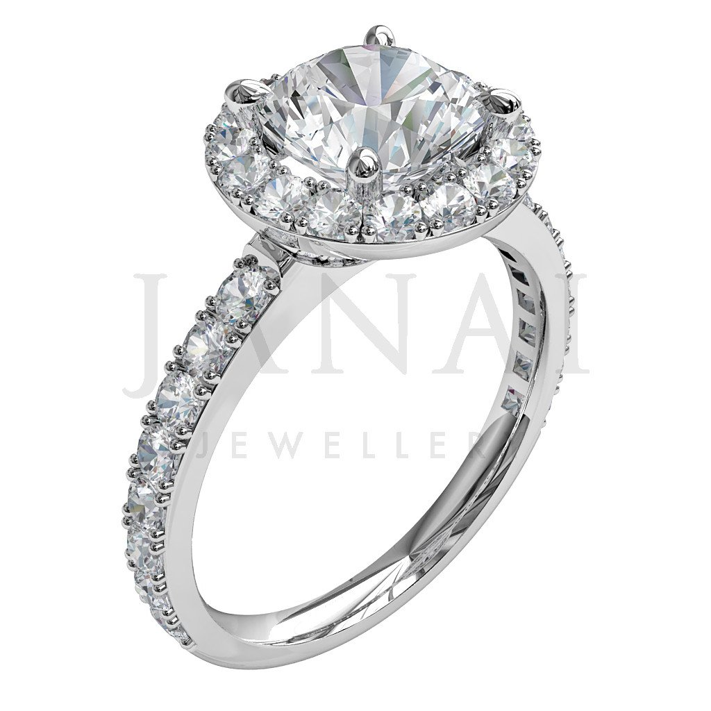Brilliant Round Cut Diamond Cluster Engagement Ring - Affetto