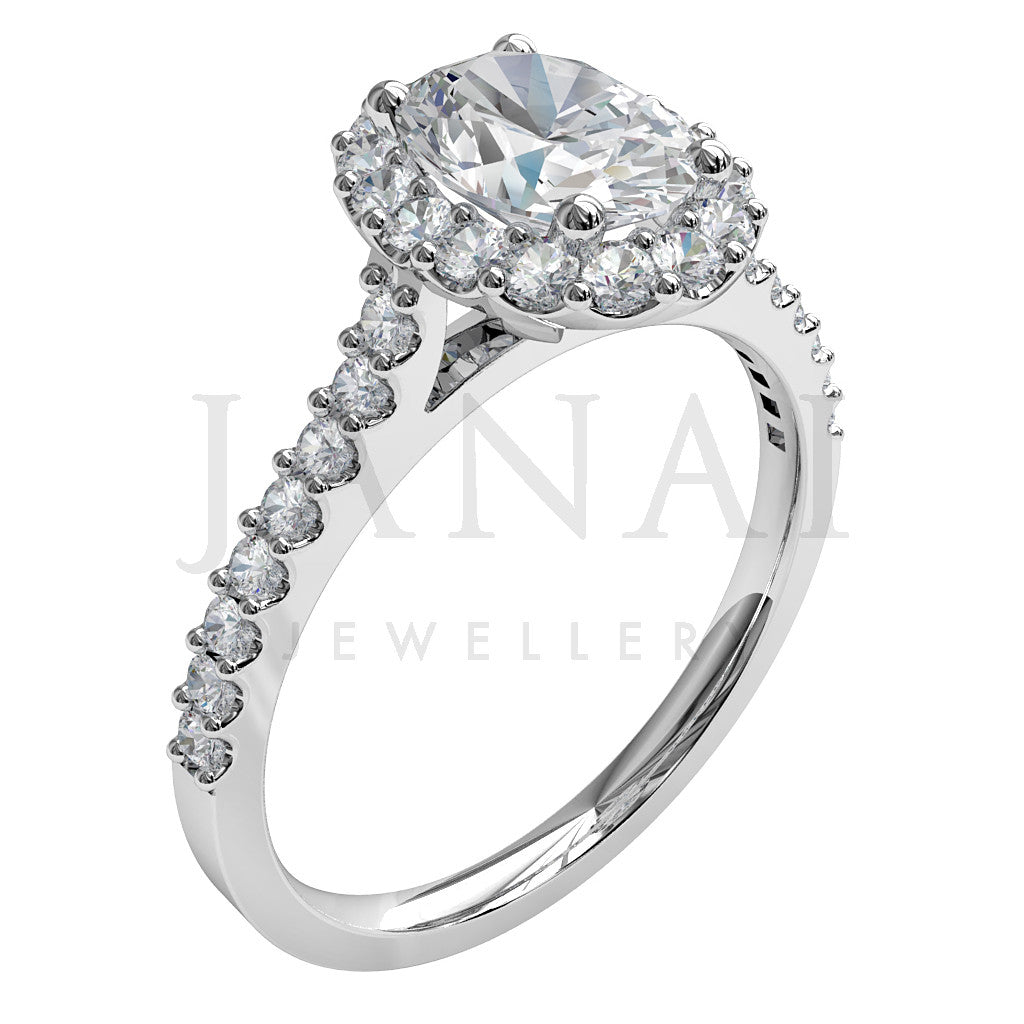 Oval shape Diamond Cluster Engagement Ring - Darling