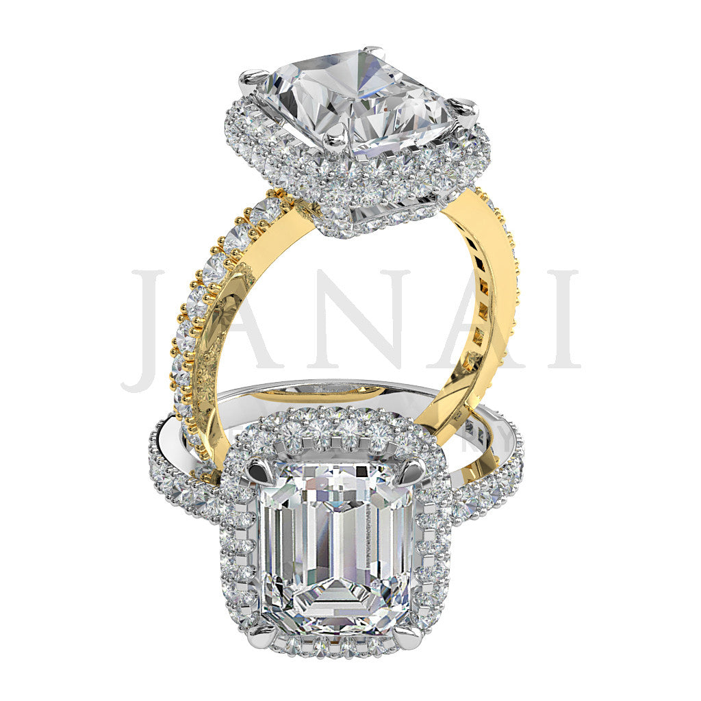 Emerald cut Diamond Cluster Engagement Ring - Beau