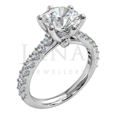 stone view cut ring side tapered diamond tappered round engagement rings