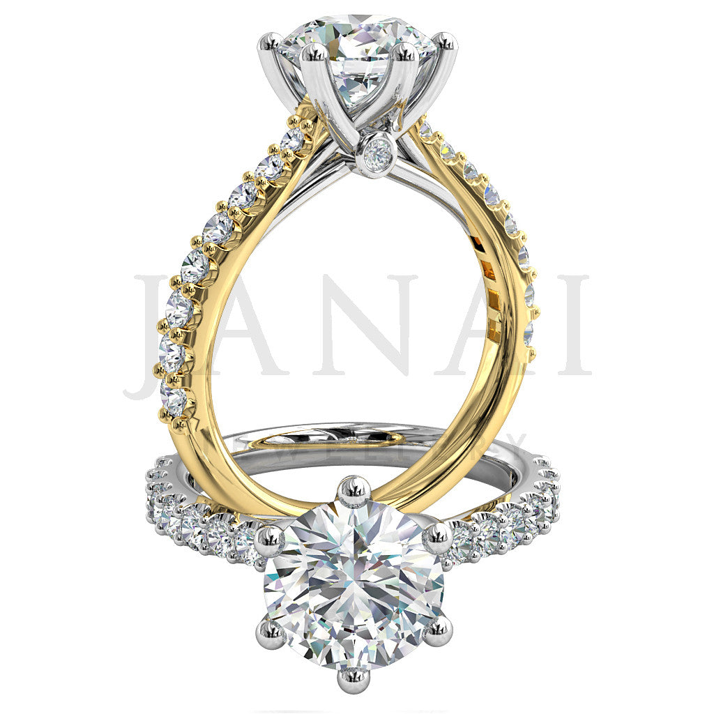 Brilliant Round Cut Diamond Engagement Ring - Heart