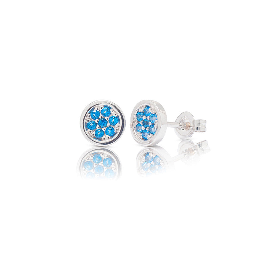 White Gold Circle Pave Studs Blue Topaz