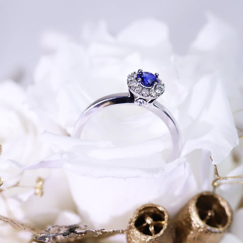 Royal Blue Sapphire Diamond Ring