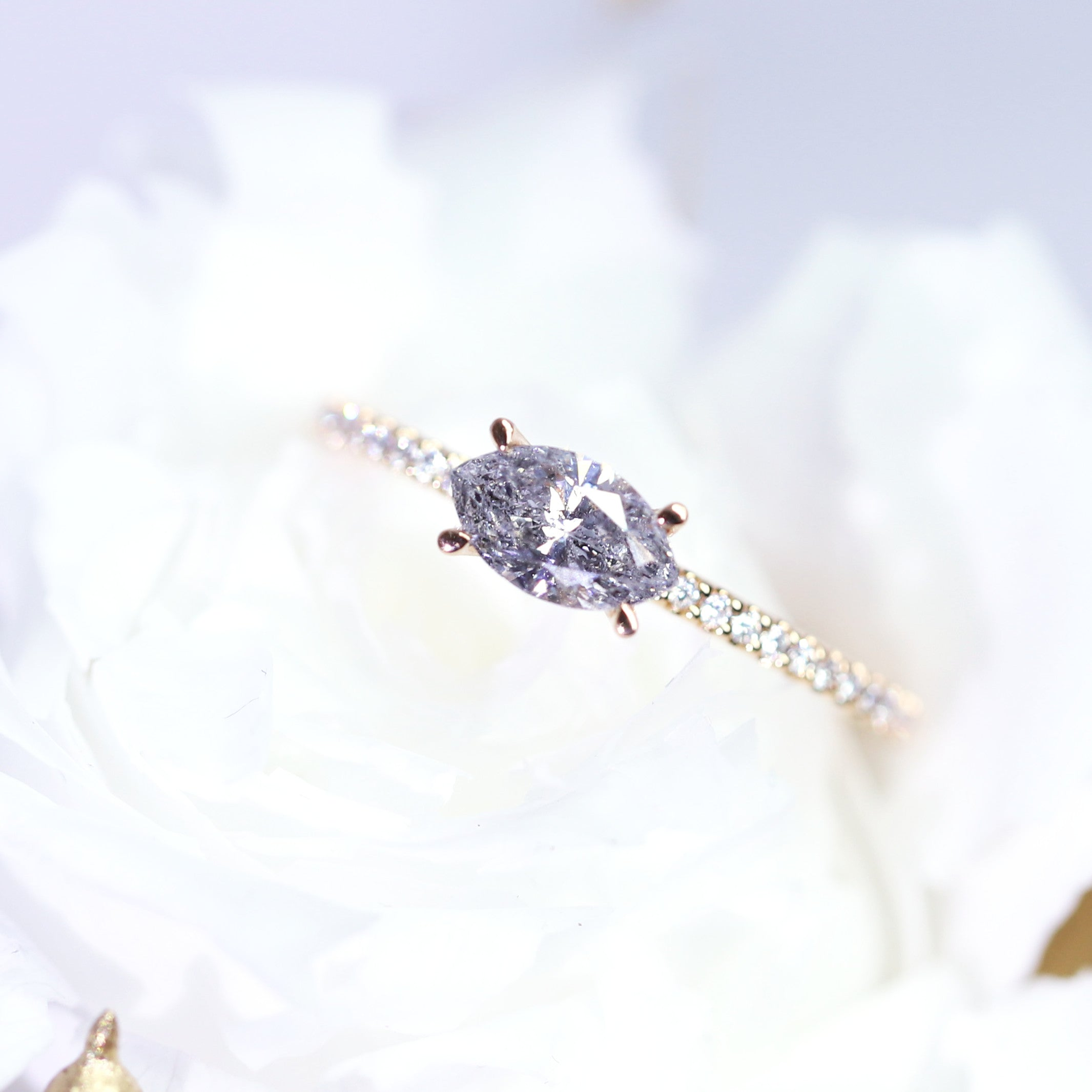 0.63ct Marquise Salt & Pepper Diamond Ring