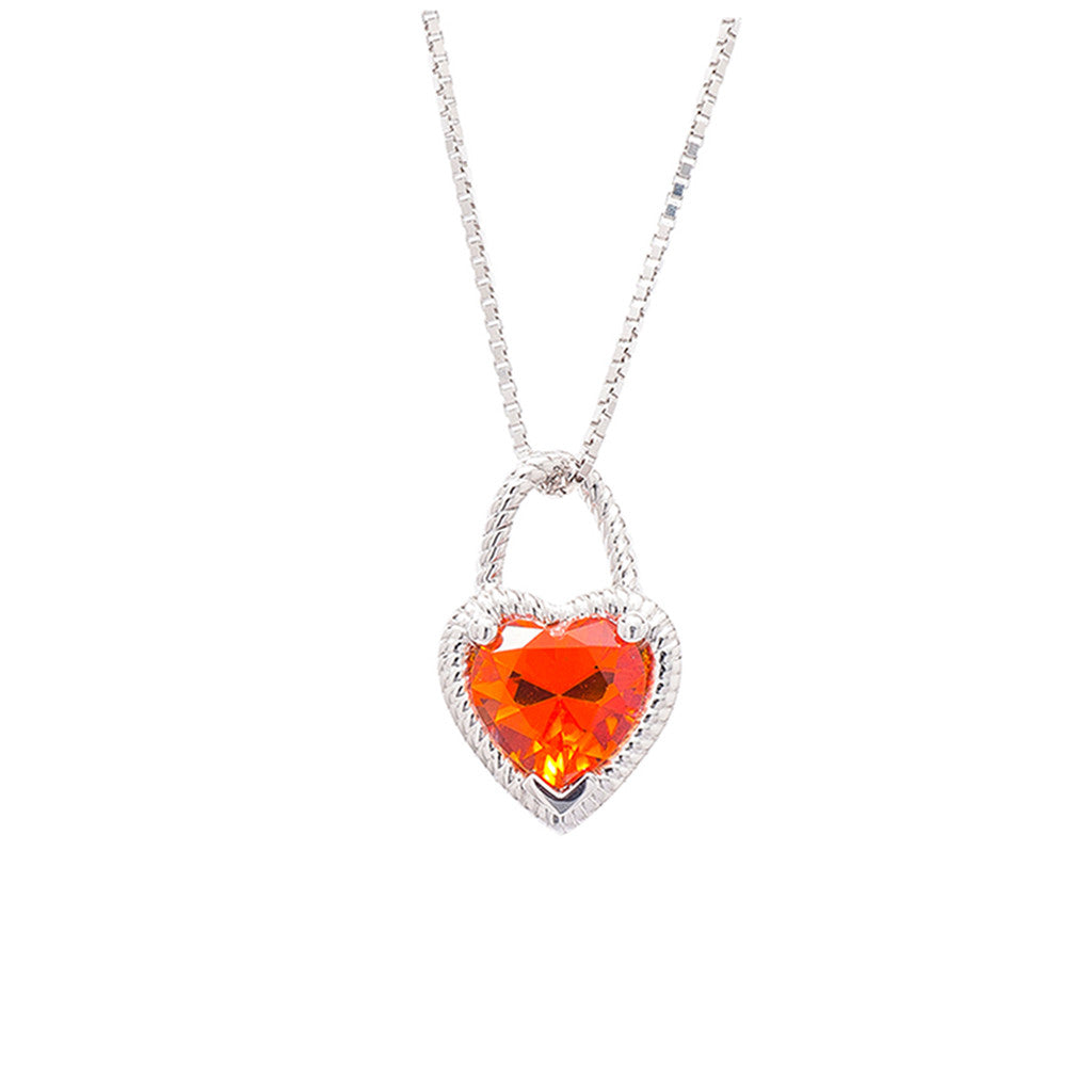 9ct White Gold Heart Pendant Orange Topaz