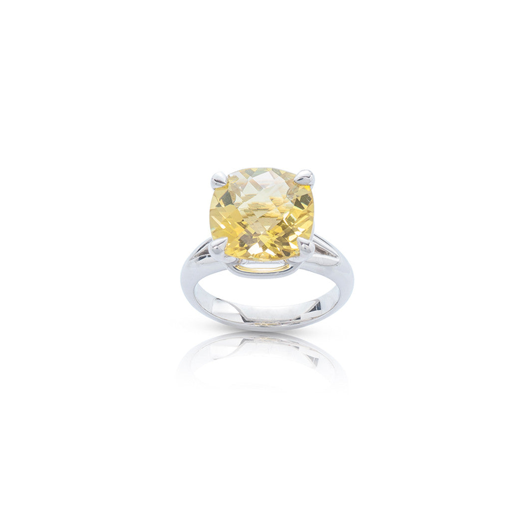 Radiant Silver Cocktail Dress Ring Lemon Quartz