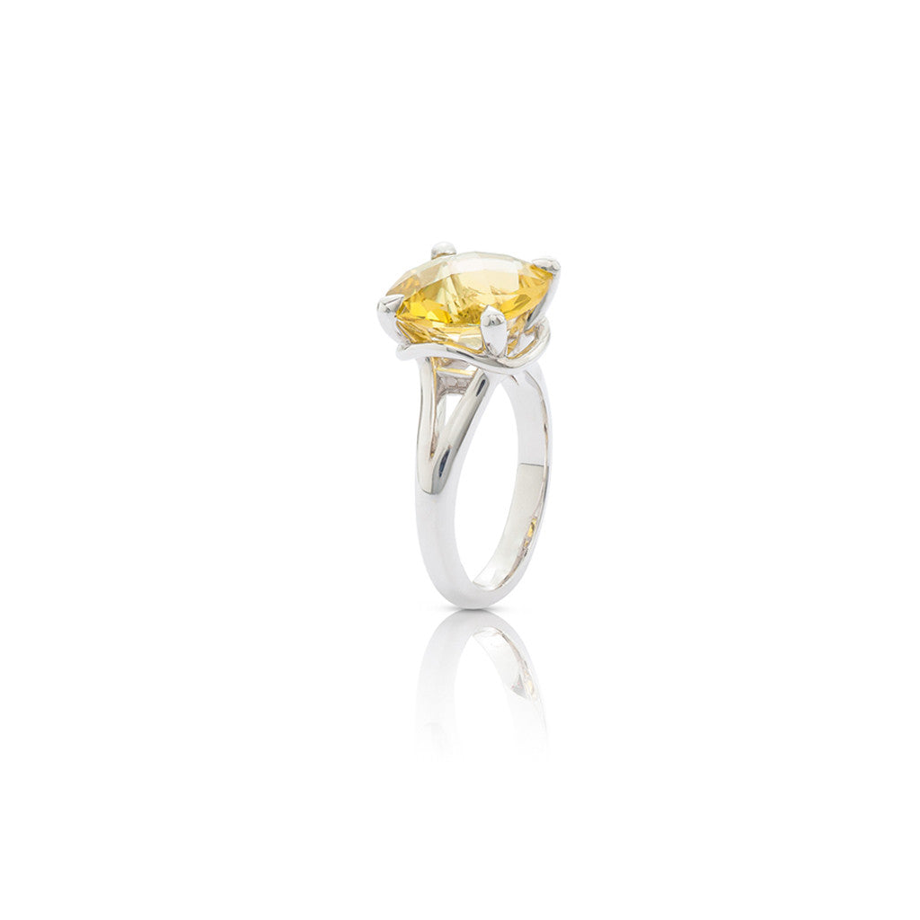 Radiant Silver Cocktail Dress Ring Lemon Quartz Gemstone