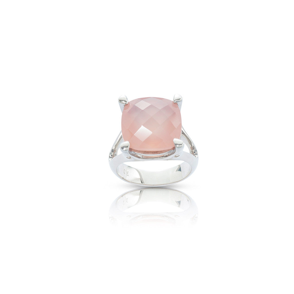 Radiant Silver Cocktail Dress Ring Pink Calcedony