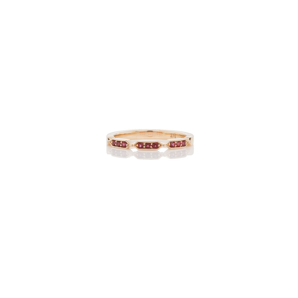 Rose Gold Stackable Ring Red Topaz
