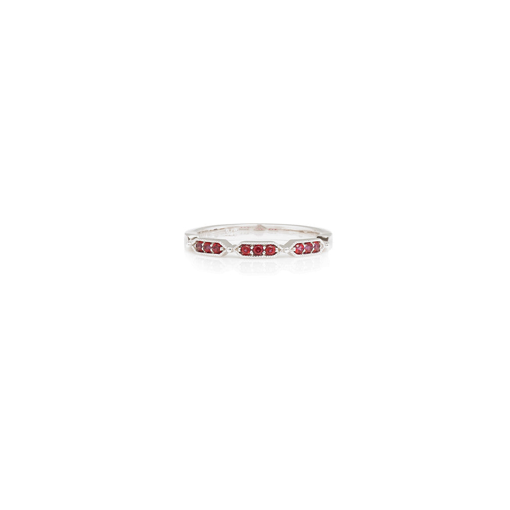 9ct White Gold Ladies Stackable Ring Blazing Red