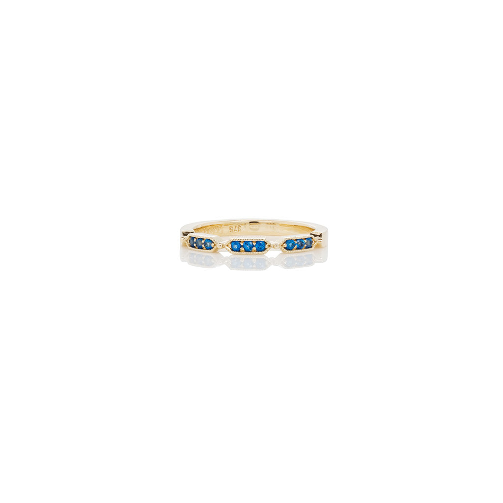 Yellow Gold Ladies Stackable Ring Blue Topaz