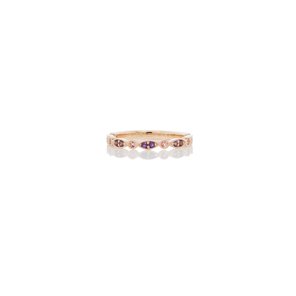 Rose Gold Ladies Stackable Ring Violac Topaz