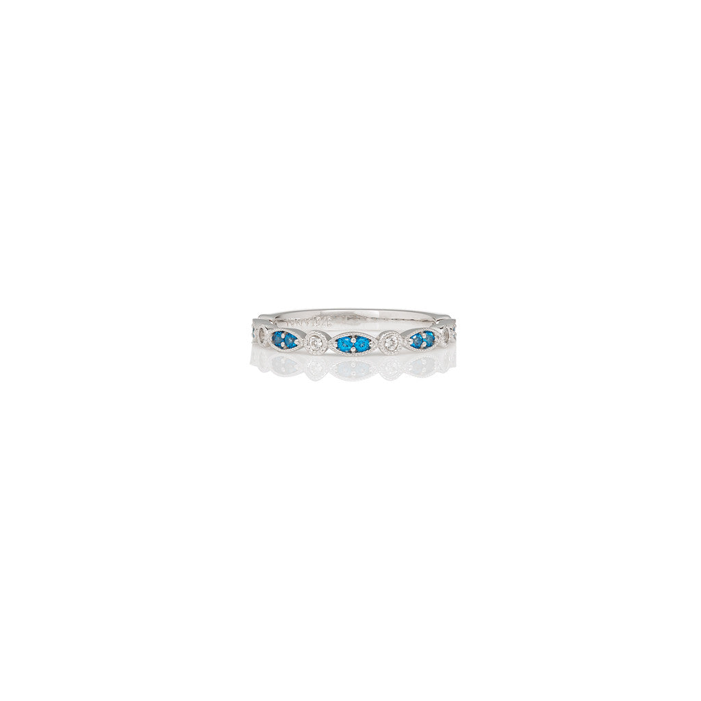 White Gold Ladies Stackable Ring Kashmir Blue