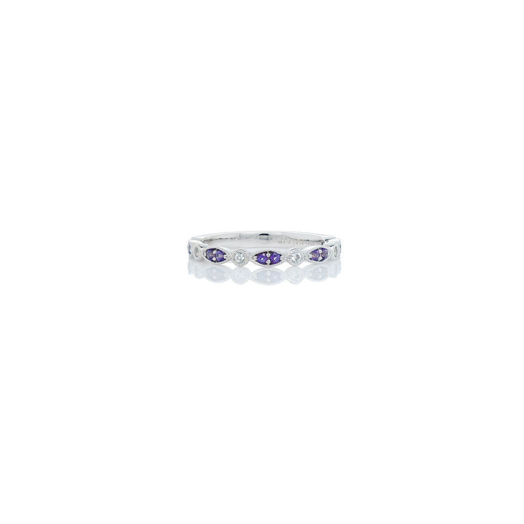 White Gold Ladies Stackable Ring Violac and White Topaz