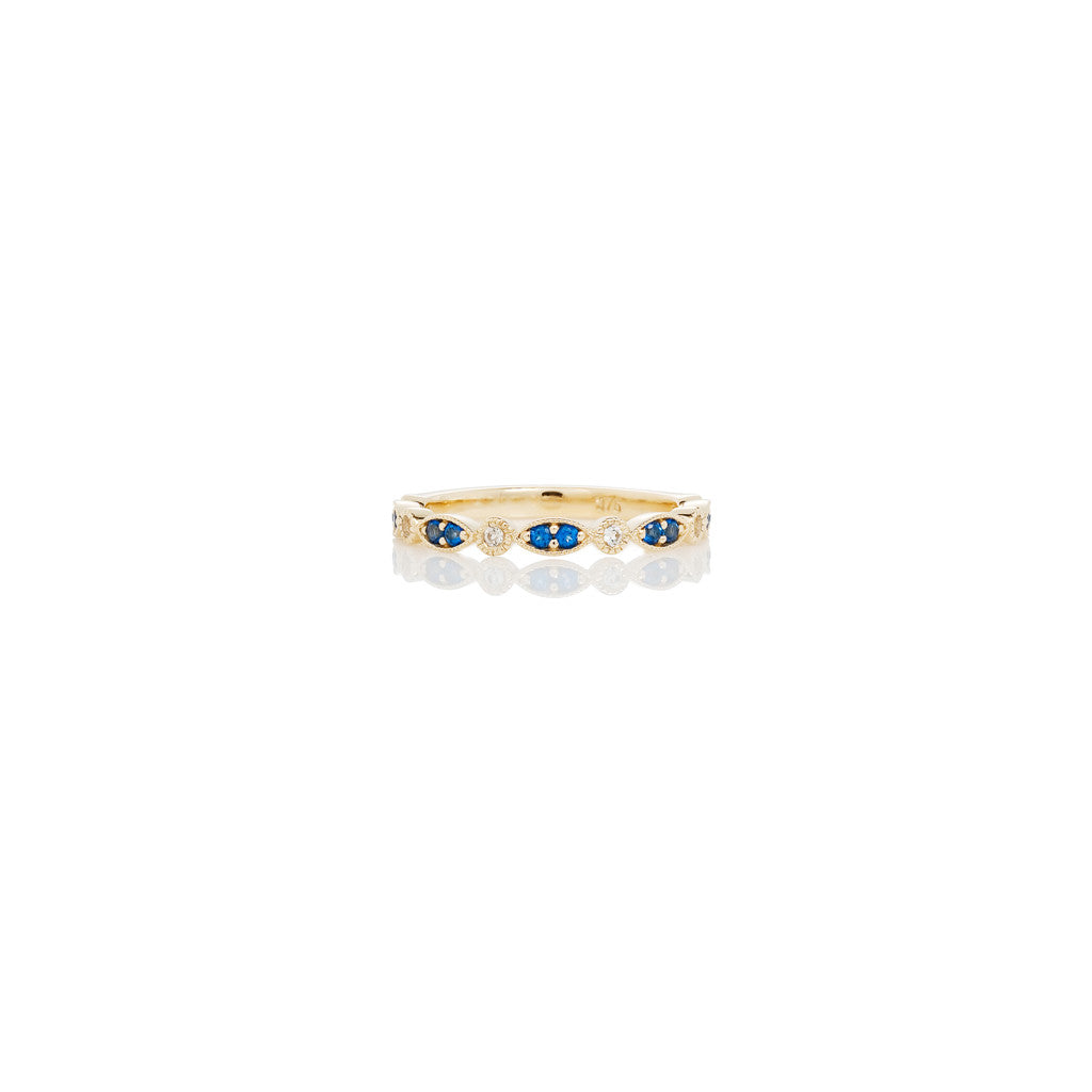 Yellow Gold Stackable Ring Kashmir Blue