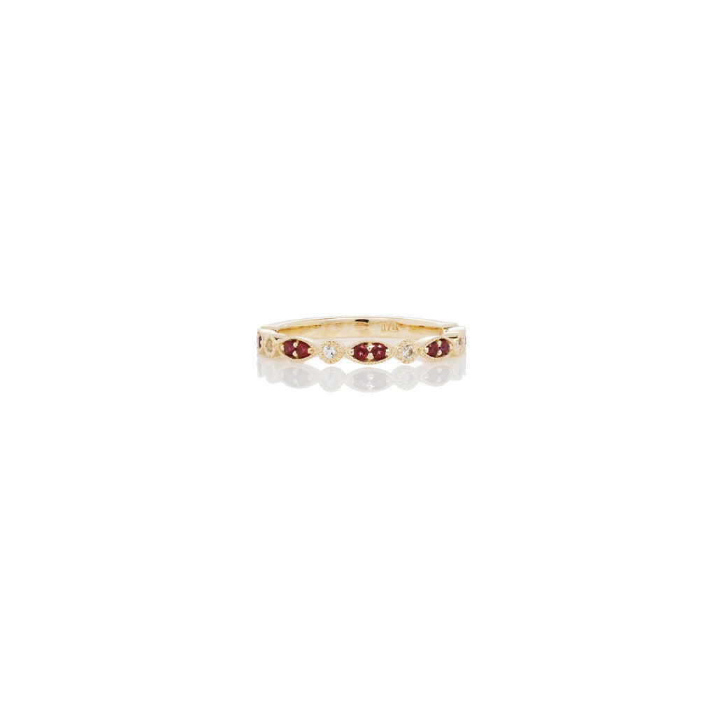 Yellow Gold Ladies Stackable Ring Red Topaz