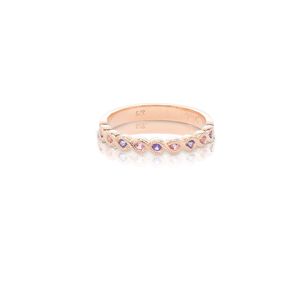 Rose Gold Stackable Ring 9 round natural Violac