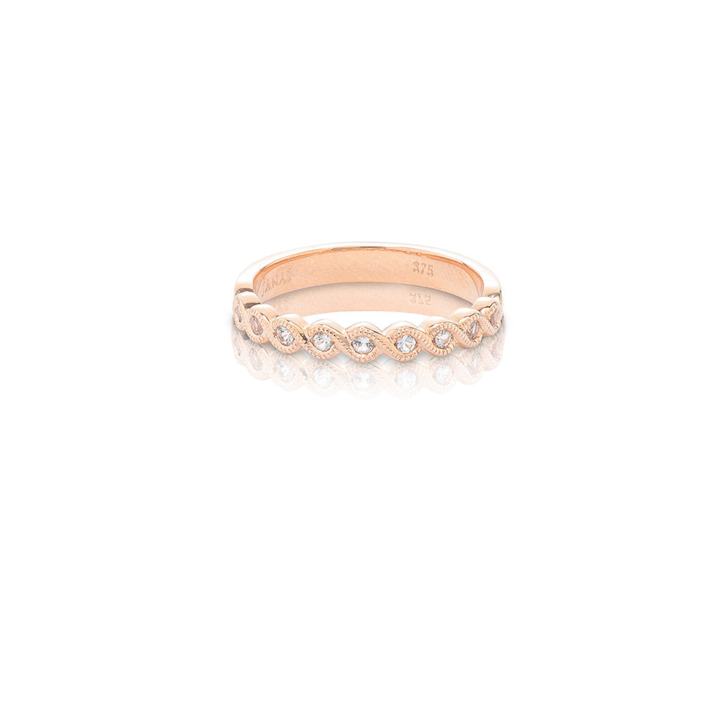 rose gold stackable ring white topaz