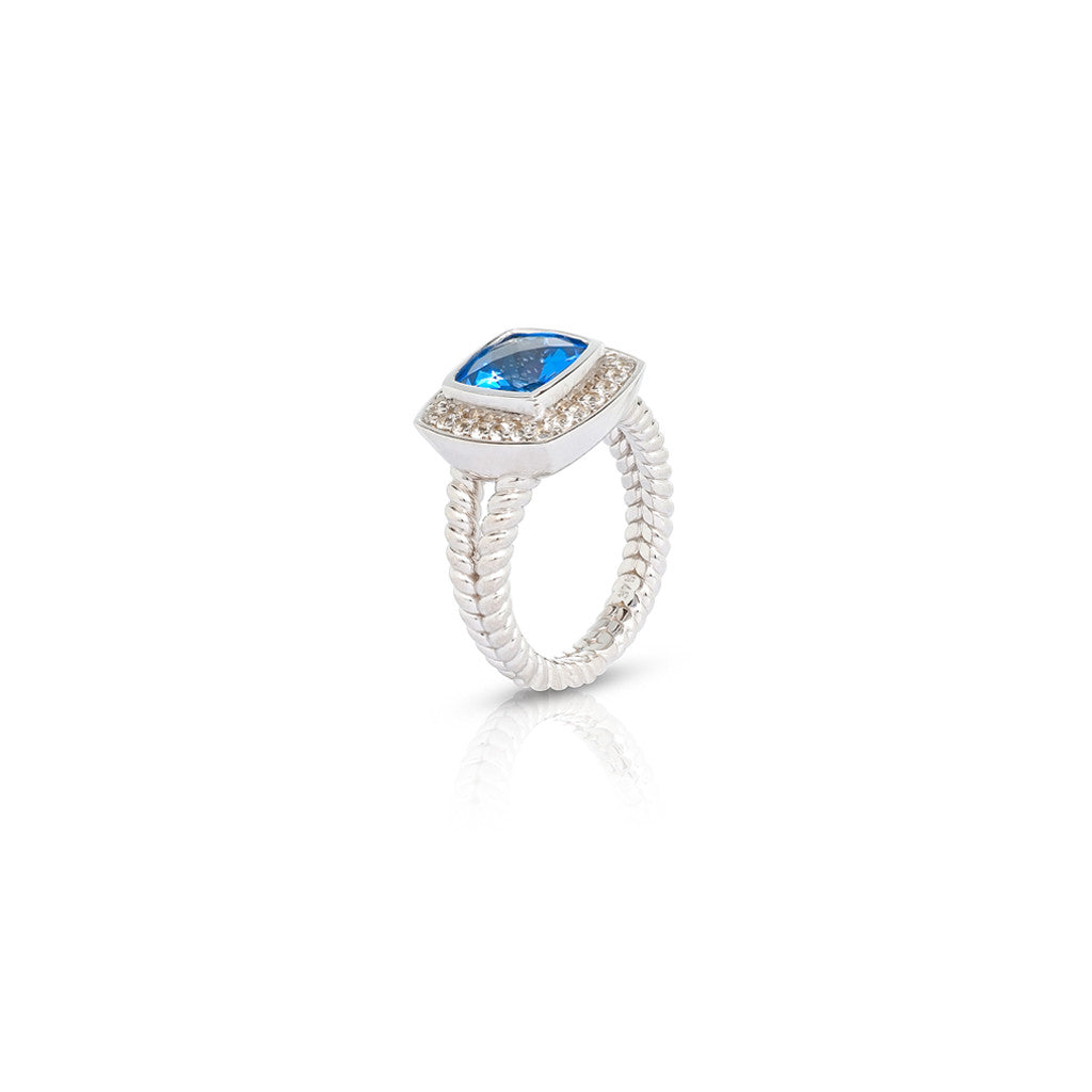 White Gold Cirque Dress Ring Blue Topaz