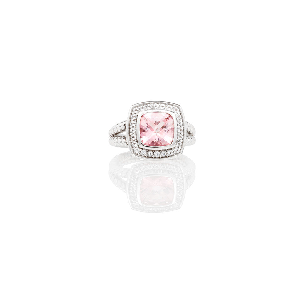White Gold Cirque Dress Ring Pink Topaz