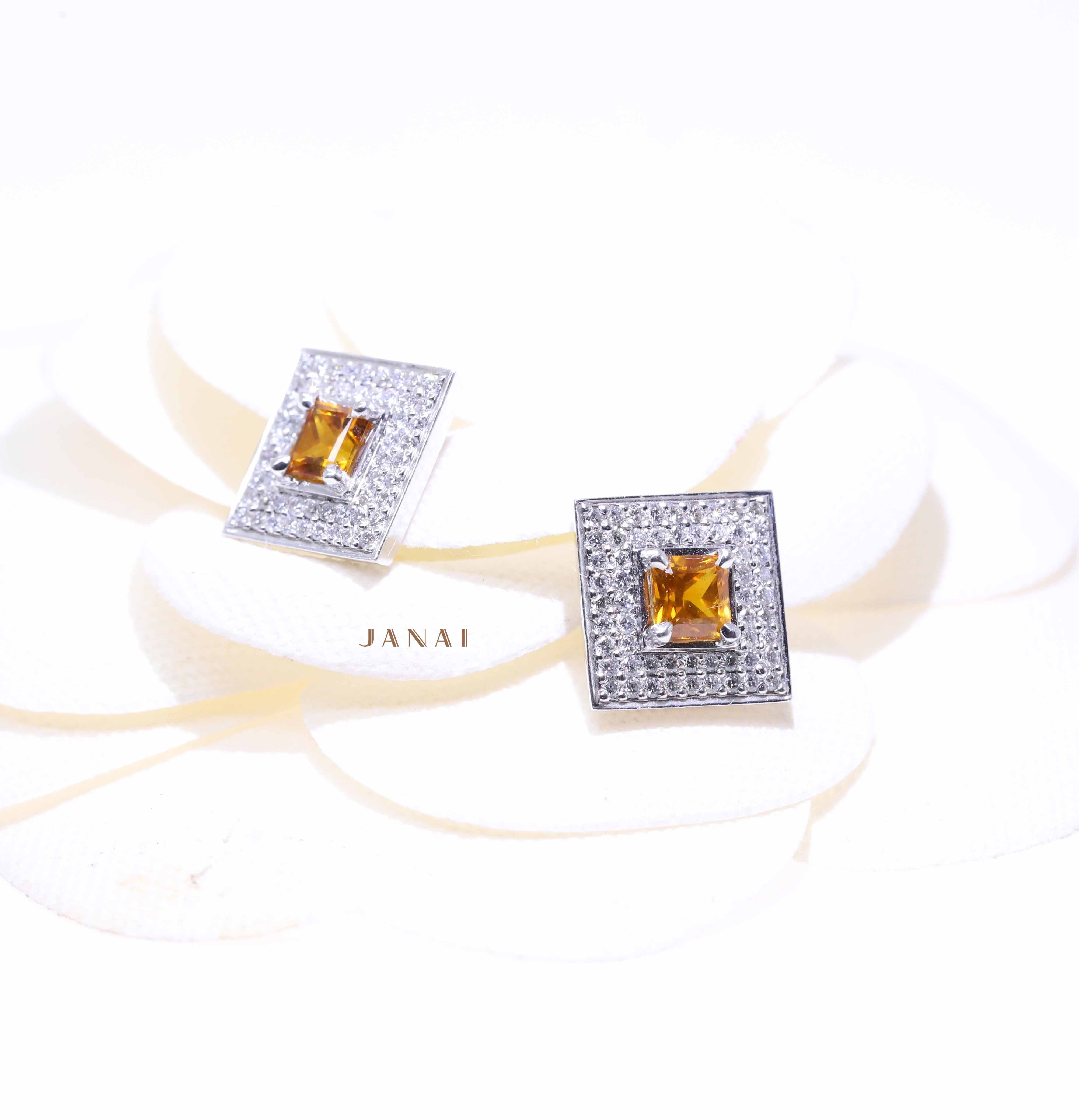 Ceylon Golden Sapphires Earrings