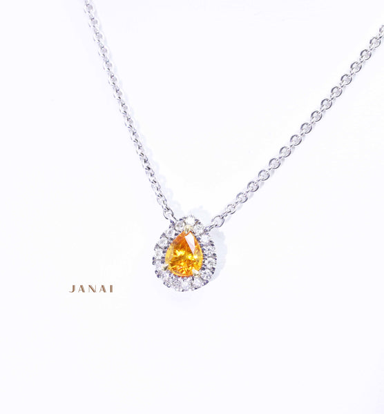 Pear Shaped Orange Ceylon Sapphire Pendant