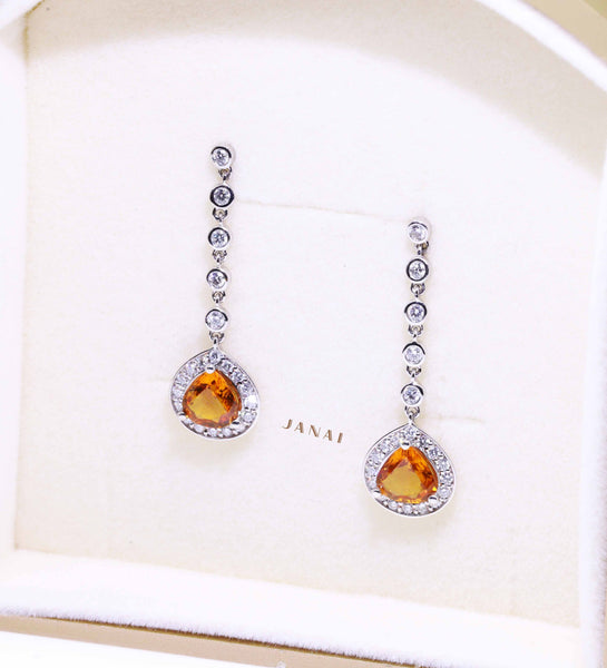 Fancy Drop Golden Sapphire Earrings