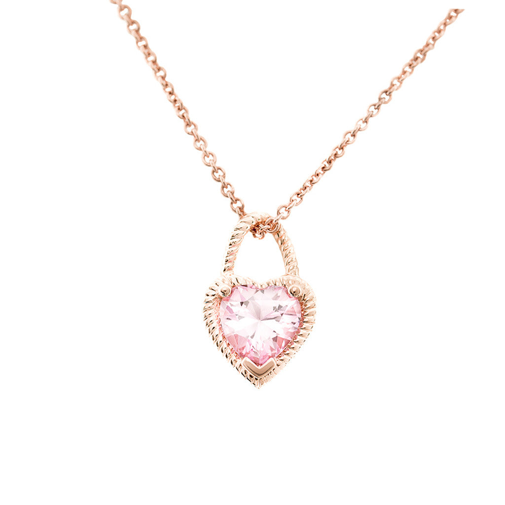 Rose Gold Heart Pendant Baby Pink