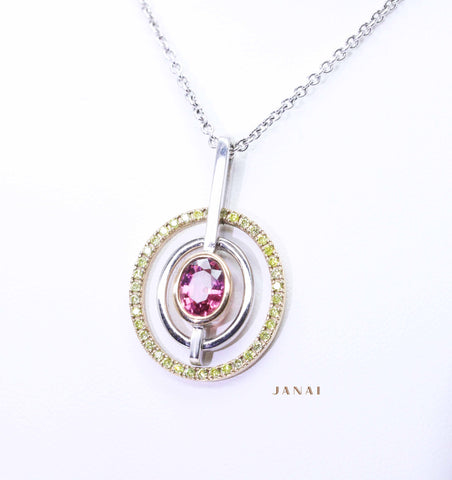 Oval Tourmaline and Yellow Diamond Pendant