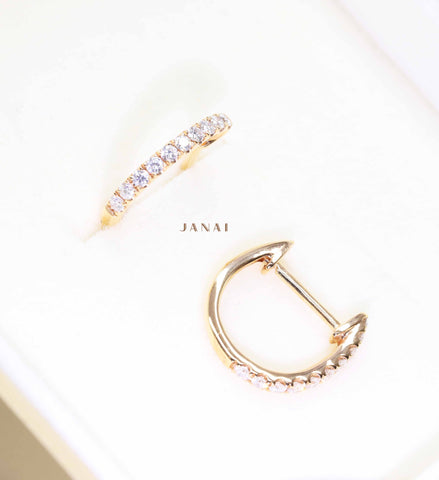 Rose Gold Huggie Diamond Earrings