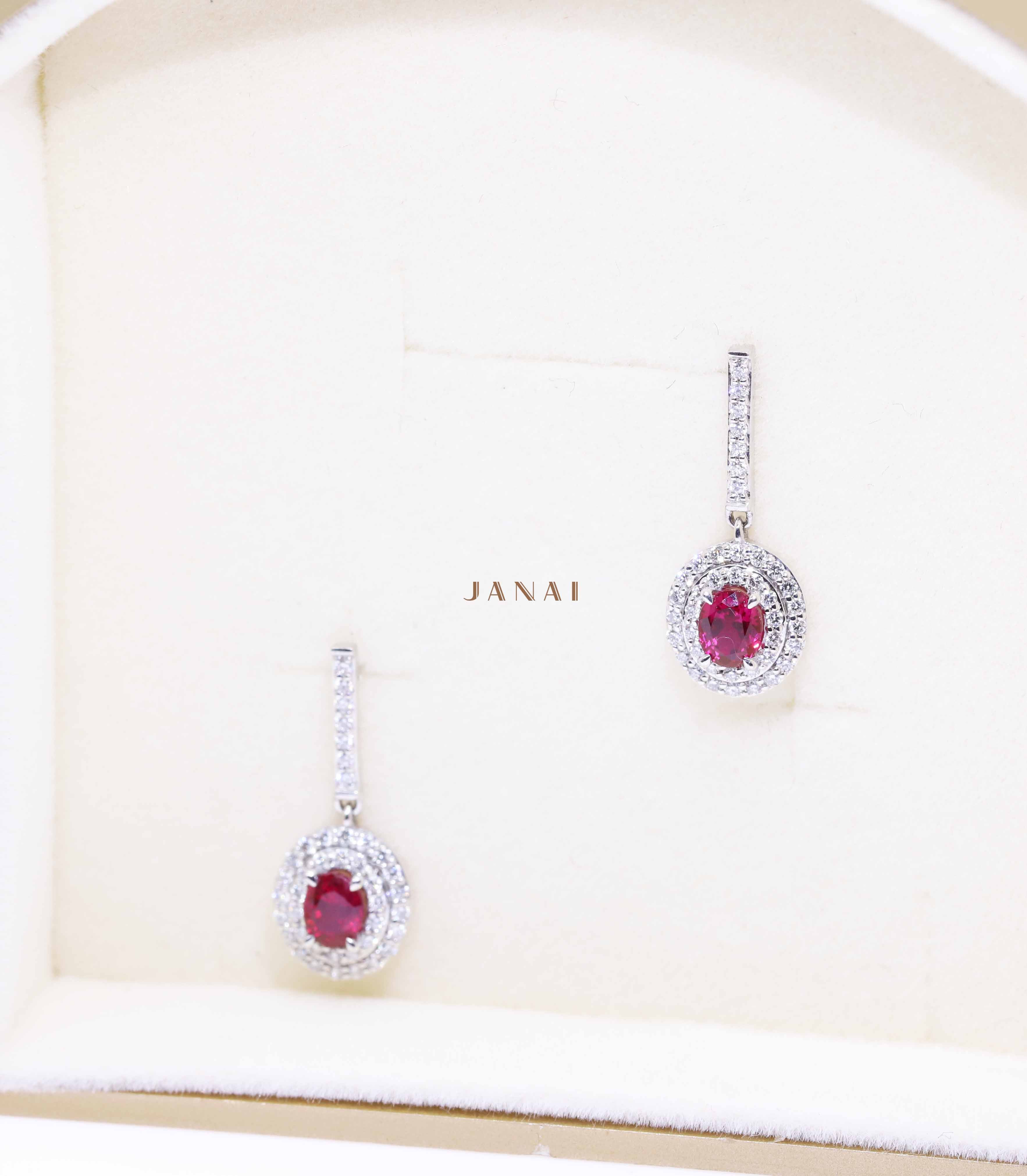 Double Halo Natural Red Oval Ruby Earrings