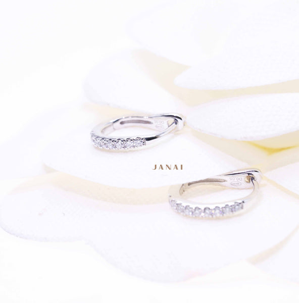 White Gold Huggie Diamond Earrings
