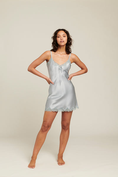 Ginia Silk Chemise - Pastel Blue - Lily Pad Lingerie