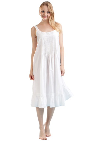 La Cera Solid Strap Cotton Nightgown - Lily Pad Lingerie