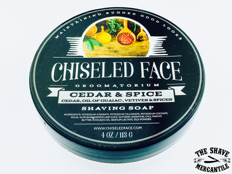 Chiseled Face Tallow Shave Soap - Cedar & Spice