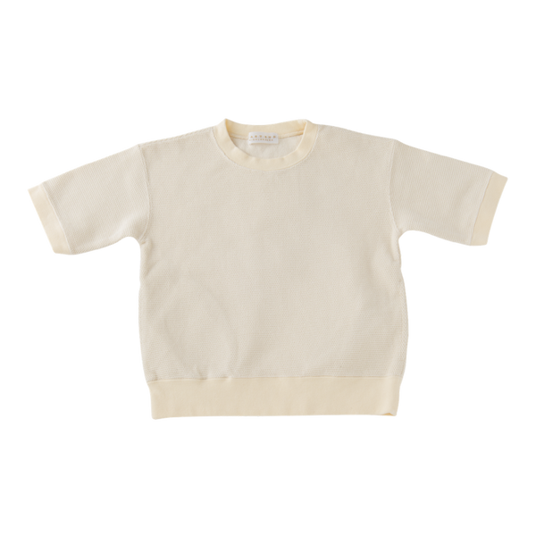 Short Sleeve Raschel Sweater in Off-White
