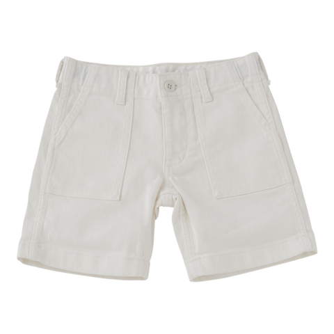 Short Fatigue Pants in White Denim
