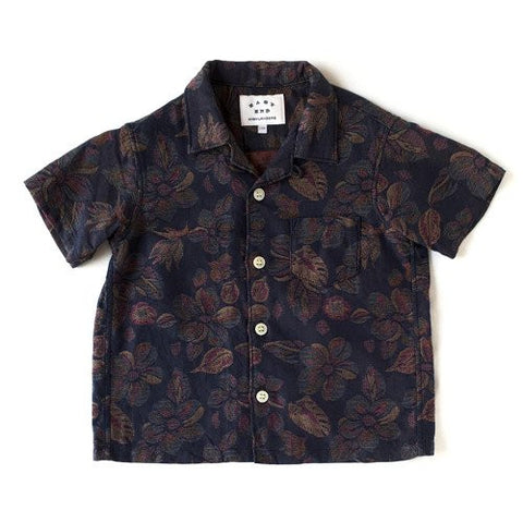 Open Collar Short Sleeve Shirt in Hawaiian Print