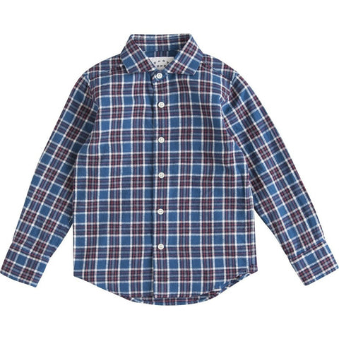 Cutaway Collar Shirt in Blue and Red