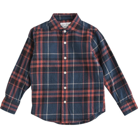 Cutaway Collar Shirt in Navy/Red
