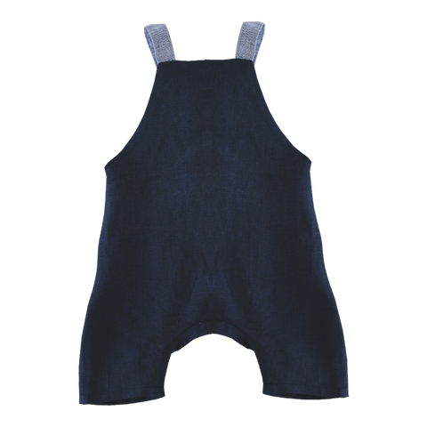 Navy Linen Dungaree