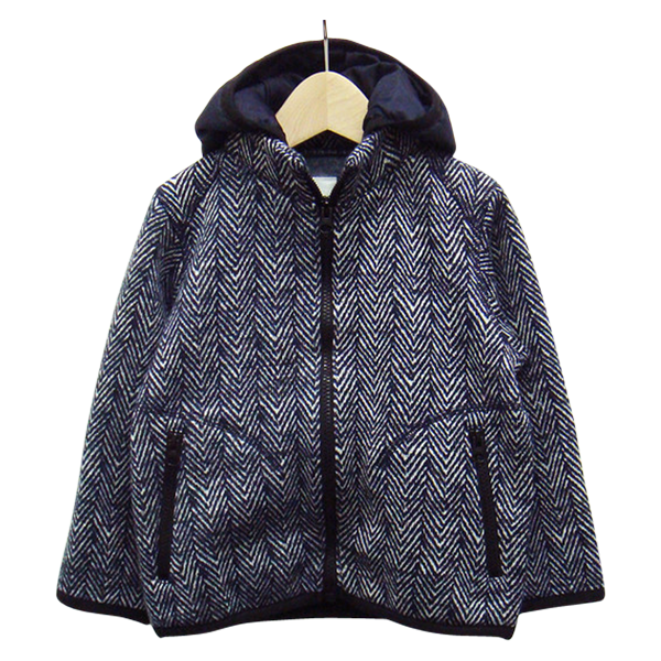 Women's Sweater Fleece Parka in Navy Herringbone
