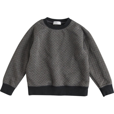 Quilted Seam Pocket Sweater in Charcoal Grey