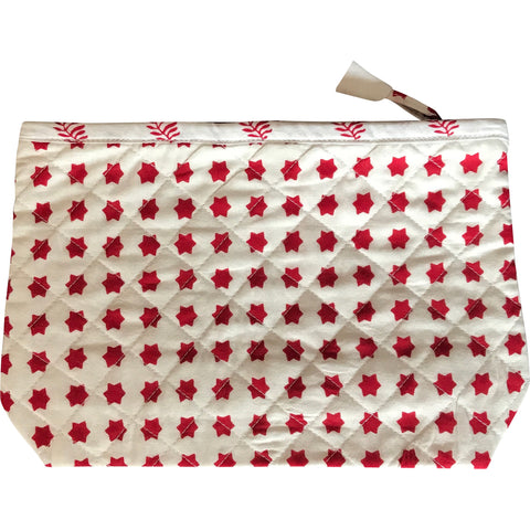 Toiletry Pouch in Red Star Print
