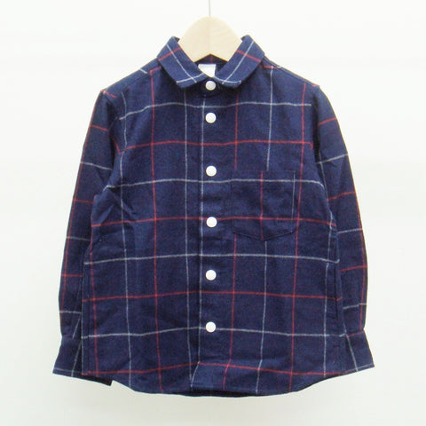 Indigo Shirt in Square Print - Arch&Line