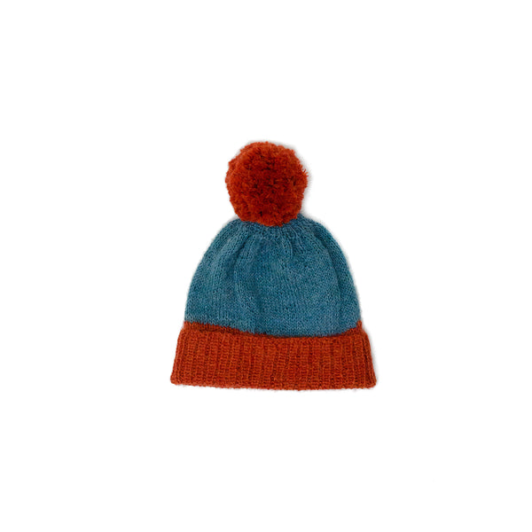 Pom Pom Hat in Blue & Orange